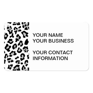 Gray Black Leopard Animal Print Pattern Business Card Template