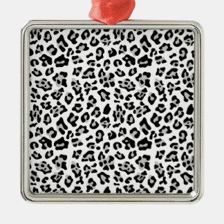 Gray Black Leopard Animal Print Pattern Christmas Ornaments