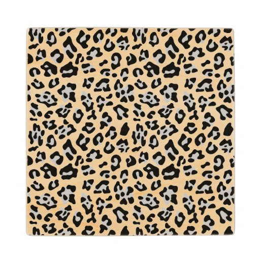 Gray Black Leopard Animal Print PatternGray, black Wood Coaster