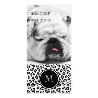 Gray Black Leopard Animal Print with Monogram Picture Card
