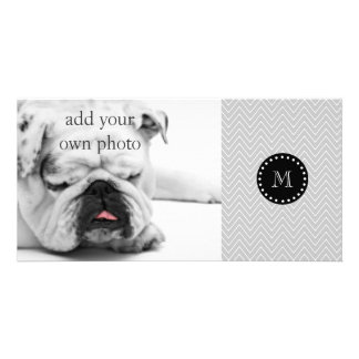 Gray & Black Modern Chevron Custom Monogram Custom Photo Card