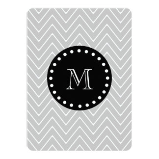 Gray & Black Modern Chevron Custom Monogram 14 Cm X 19 Cm Invitation Card