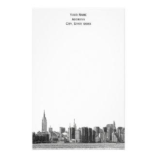 Gray Black NYC Skyline Etch 01 Stationery
