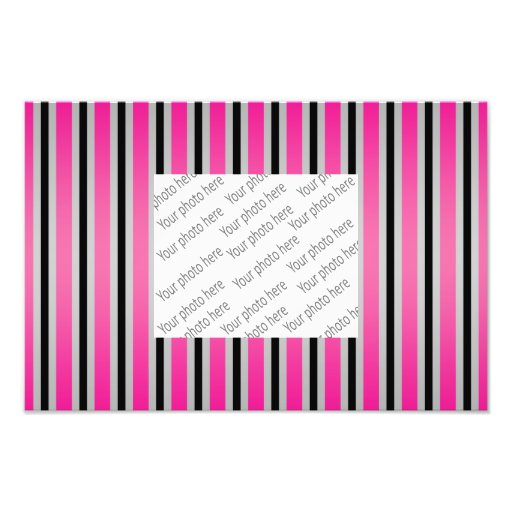 Gray black pink stripes photographic print