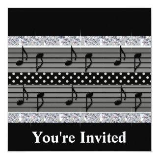 "Gray & Black Polka Dot Diamonds & Musical Notes 5.25"" Square Invitation Card"