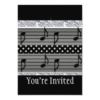 "Gray & Black Polka Dot Diamonds & Musical Notes 5"" X 7"" Invitation Card"
