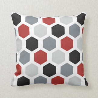 Gray, Black, Red, & White Hexagon Design Pillow