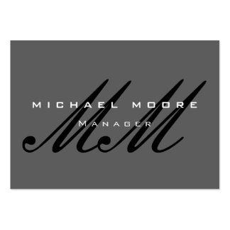 Gray Black Script Monogram Modern Pack Of Chubby Business Cards