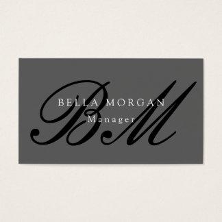 Gray Black Script Monogram Modern Stylish