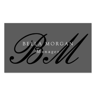 Gray Black Script Monogram Modern Stylish Pack Of Standard Business Cards