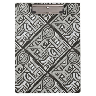 Gray Black Textural Geometric-Hand Painted Pattern Clipboard