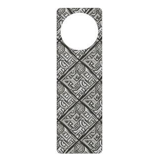 Gray Black Textural Geometric-Hand Painted Pattern Door Hanger