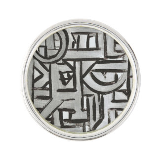 Gray Black Textural Geometric-Hand Painted Pattern Lapel Pin
