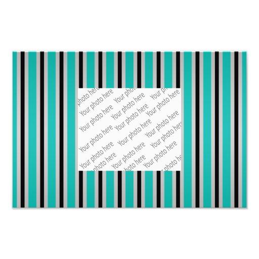 Gray black turquoise stripes photographic print
