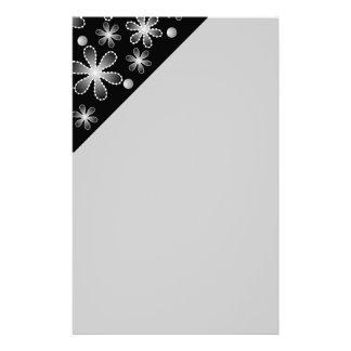 Gray Black White Bead Flowers Stationery