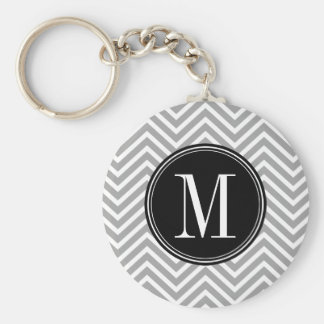 Gray, Black & White Chevron Pattern with Monogram Basic Round Button Key Ring
