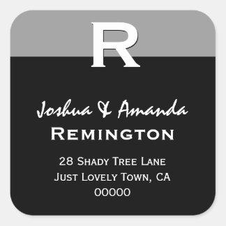 Gray Black White Simple Elegant Custom Monogram R Square Sticker