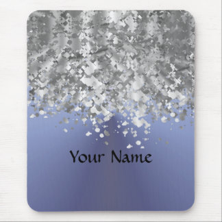 Gray blue and faux glitter mouse pad