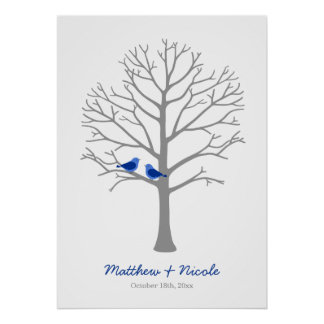Gray Blue Birds Fingerprint Tree Wedding Poster