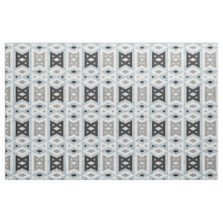 Gray Blue Black Eclectic Ethnic Look Fabric
