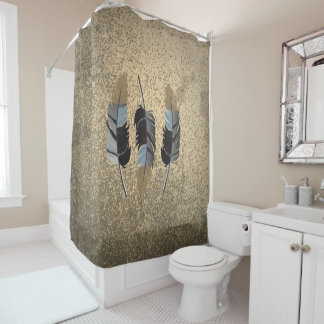 Gray,Blue & Brown Feather Design on Grunge Tan Shower Curtain