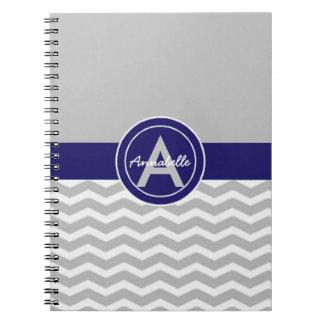 Gray Blue Chevron Notebook