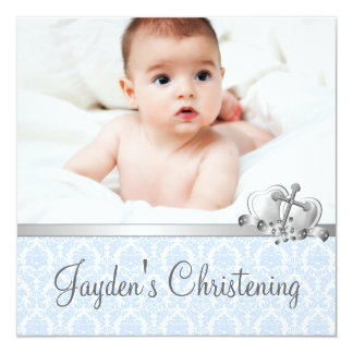 Gray Blue Damask Boys Photo Christening 5.25x5.25 Square Paper Invitation Card