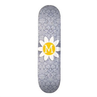 Gray-Blue Damask; Daisy Skate Board Decks