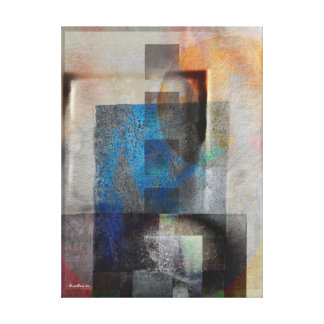 Gray & Blue Geometric Industrial Grunge Art 6 Canvas Print