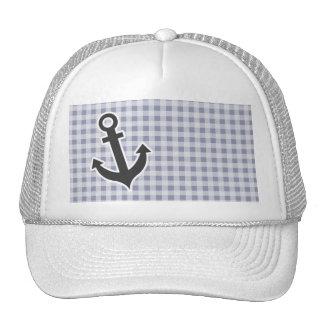 Gray-Blue Gingham; Anchor Trucker Hats