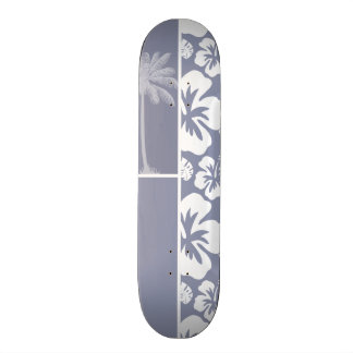 Gray-Blue Hawaiian Tropical Hibiscus; Palm 21.6 Cm Old School Skateboard Deck