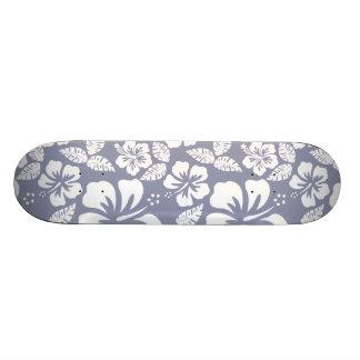 Gray-Blue Hawaiian Tropical Hibiscus Skateboards