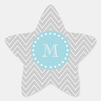 Gray & Blue Modern Chevron Custom Monogram Star Sticker