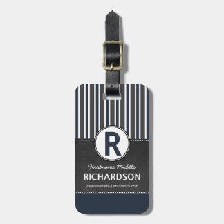 Gray Blue Stripes Chalkboard Monogram Luggage Tag