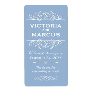 Gray Blue Wedding Wine Bottle Monogram Favor Shipping Label