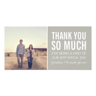 Gray Bold Photo Thank You Cards Personalized Photo Card