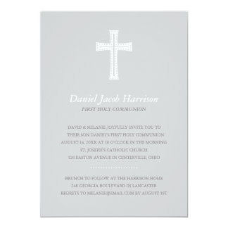 Gray Boys First Communion Card