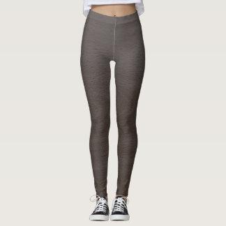 Gray Brown Wood Design Leggings