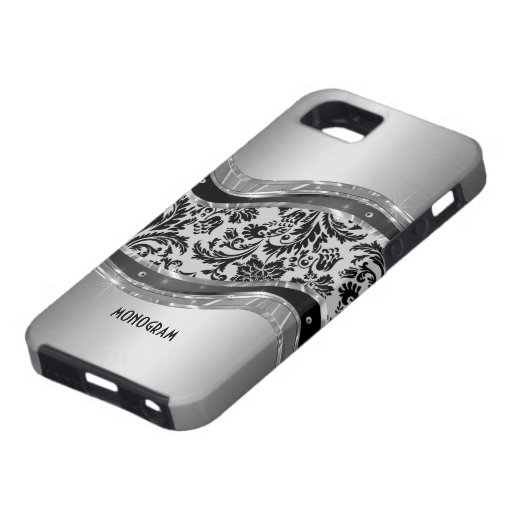 Gray Brushed Aluminum Look & DamasksPattern iPhone 5 Cover