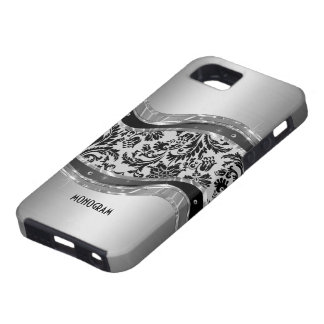 Gray Brushed Aluminum Look & DamasksPattern iPhone 5 Cases