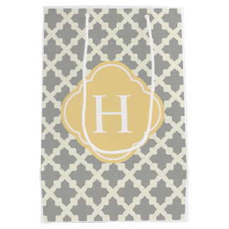 Gray & Buff Modern Moroccan Quatrefoil Monogram Medium Gift Bag