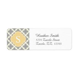 Gray & Buff Modern Moroccan Quatrefoil Monogram Return Address Label