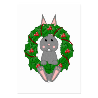 Gray Bunny And Christmas Wreath Business Cards