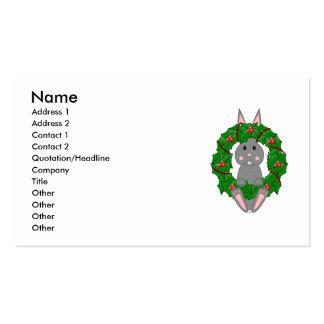 Gray Bunny And Christmas Wreath Business Card