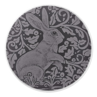 Gray Bunny Rabbit Cabinet Knob Original Art