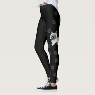 Gray Cairn Terrier Cartoon Dog With Paws Black Leggings