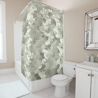 Gray Camouflage Shower Curtain