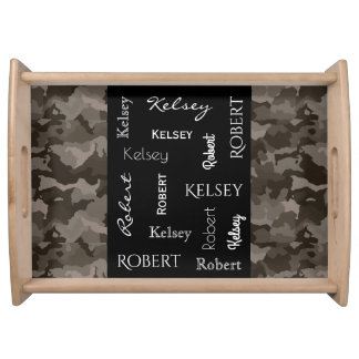 Gray Camouflage w/Names Serving Tray