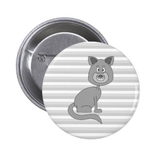 Gray Cat Pinback Buttons
