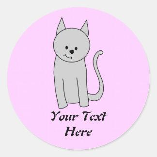 Gray Cat Cartoon. Classic Round Sticker